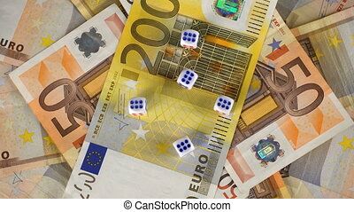 Euro Banknotes and dice rotate on the table