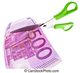 Euro banknotes and scissors - From a Euro bill is cut with...