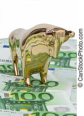 Euro banknotes. Bull and Bear