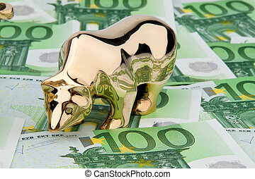 Euro banknotes. Bull and Bear - Many euro banknotes. Bull...