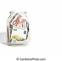 Euro banknotes close up, European currency