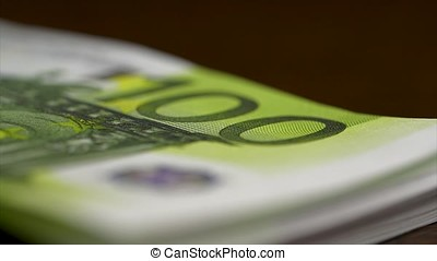 Euro banknotes close up. Several hundred euro banknotes...