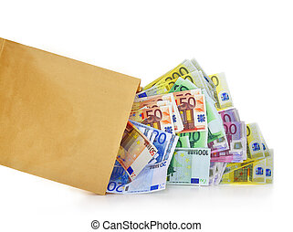 Euro banknotes coming out of a paper bag on white background