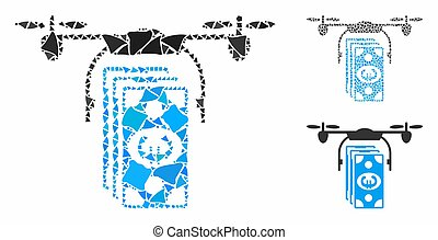 Euro banknotes drone Mosaic Icon of Rugged Parts
