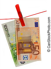 Euro Banknotes - Euro banknotes held by a clothesline....