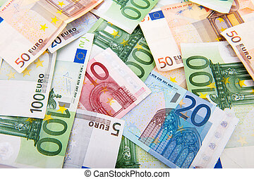 Euro banknotes - euro banknotes in different values isolated...