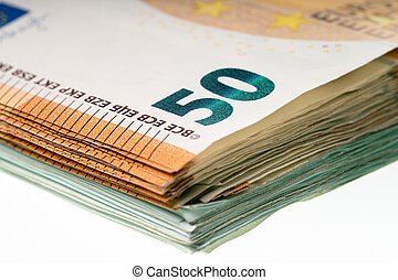 Euro Banknotes - Fifty and One Hundred Euro Bills on a Light...
