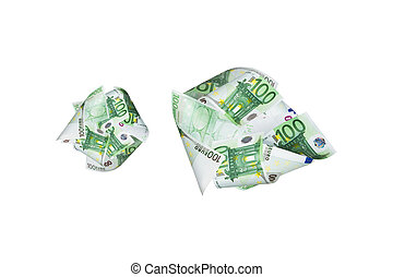 Euro Banknotes Flying