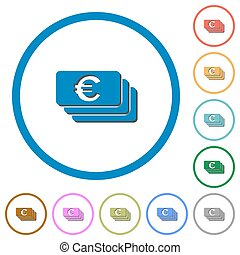 Euro banknotes icons with shadows and outlines