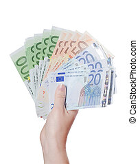 Euro banknotes in a hand isolated on white