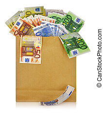 Euro banknotes in a shopping bag on white background