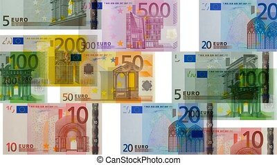 euro banknotes in motion