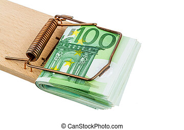 euro banknotes in mouse trap