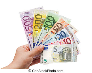 euro banknotes, in, overhandiig op, white%ufffc