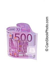 euro banknotes in the form of a heart
