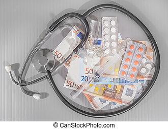 euro banknotes medicines syringe on gray background