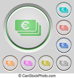 Euro banknotes push buttons