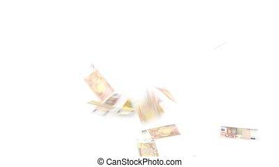 Euro banknotes rain on white background 1080p HD Video