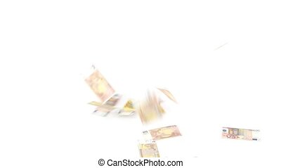 Euro banknotes rain on white background 1080p HD Video