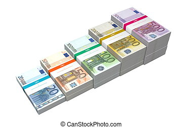 Euro Banknotes Ramp 20 - 500 - banknotes from 20 to 500 Euro...