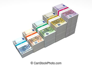 Euro Banknotes Ramp 20 - 500 - Higher Steps