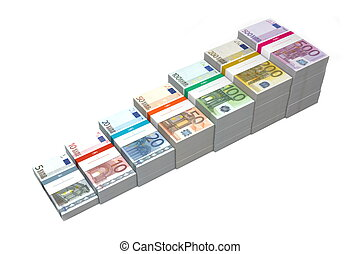 Euro Banknotes Ramp 5 - 500 - banknotes from 5 to 500 Euro...