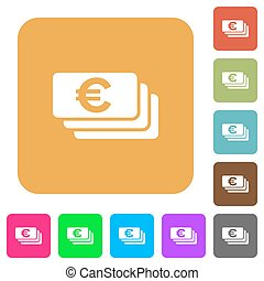 Euro banknotes rounded square flat icons
