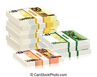 euro banknotes stacks