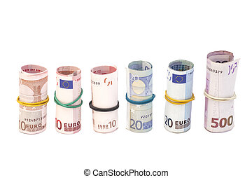 euro banknotes with a rubber band