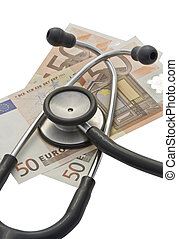 Euro banknotes with stethoscope