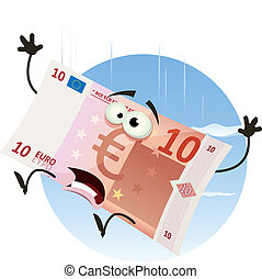 Euro Bill Character Falling