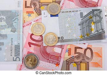 euro billets banque, à, pièces, financier, fond