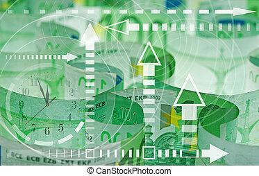euro billets banque, closeup, -, temps, et, argent, concept