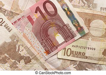 Euro Bills - 10 - Close-up of Euro Bills Horizontal...