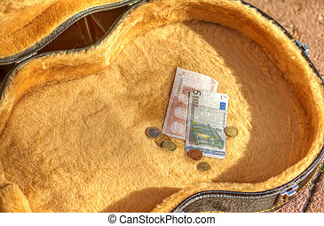 bills and coins in a guitar case in the street