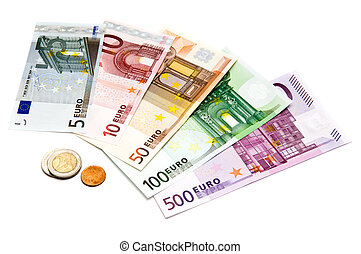 euro bills and coins isolated on a white background