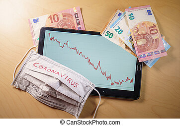 Euro bills and face mask with the word coronavirus on top of a tablet