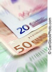 Euro bills close up
