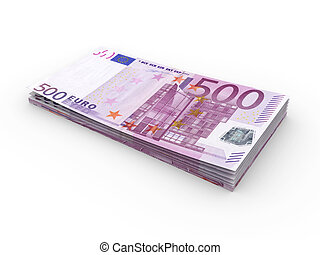 Euro Bills - 3D rendered Illustration. Isolated on white.