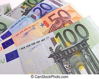 Euro bills - euro bills over white background