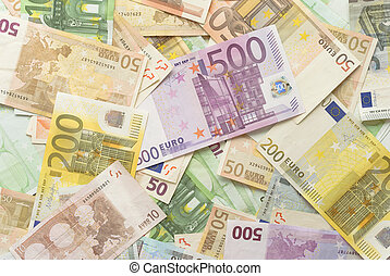 Euro Bills Horizontal Background