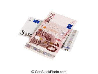 Euro bills isolated on white background