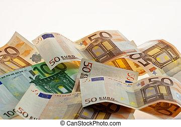 Euro bills on white background