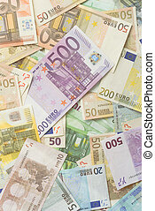 Euro Bills Vertical Background