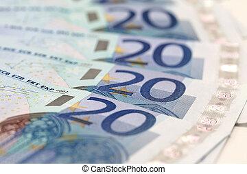 Euro bills - 20-Euro bills in a row
