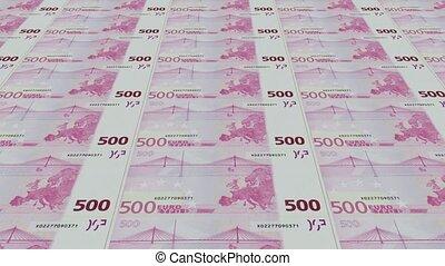 euro bills, Printing Money Animation