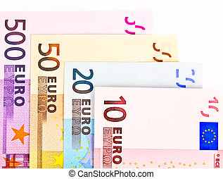 Euro bills 10 20 50 and 500