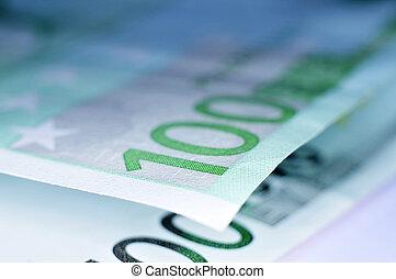 euro bills - close up of some 100 euro bills