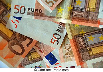 euro bills - pile of euro bills