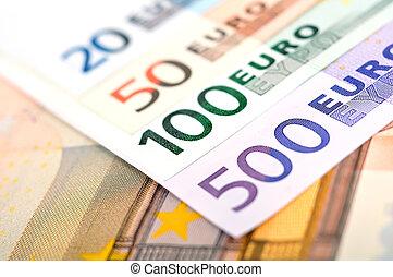 euro bills of the european union, close up